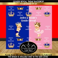 Pink or Blue Prince or Princess Gender Reveal Backdrop