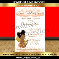 Peach and Gold Heaven Sent Baby Shower Invitation