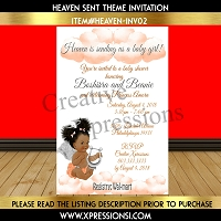 Peach and Silver Heaven Sent Baby Shower Invitation