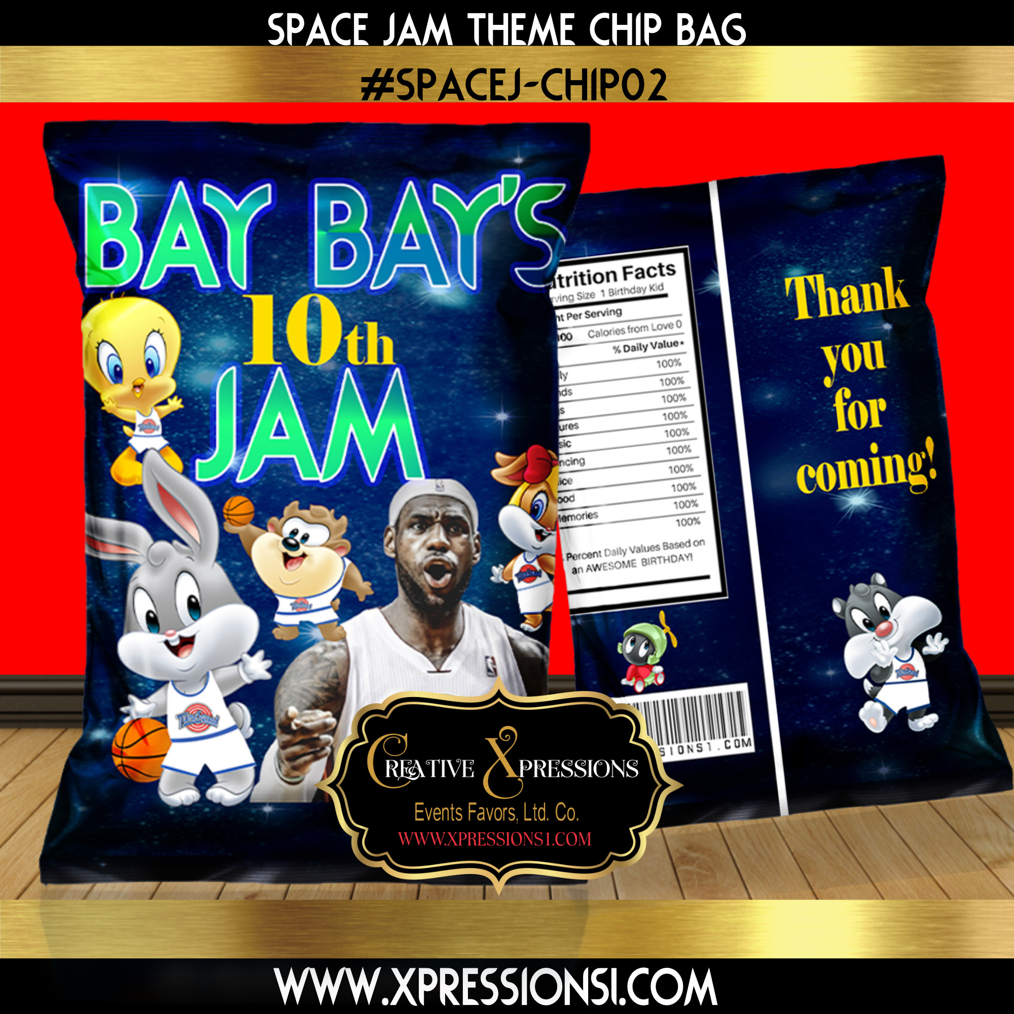 Space Jam Birthday Chip Bag