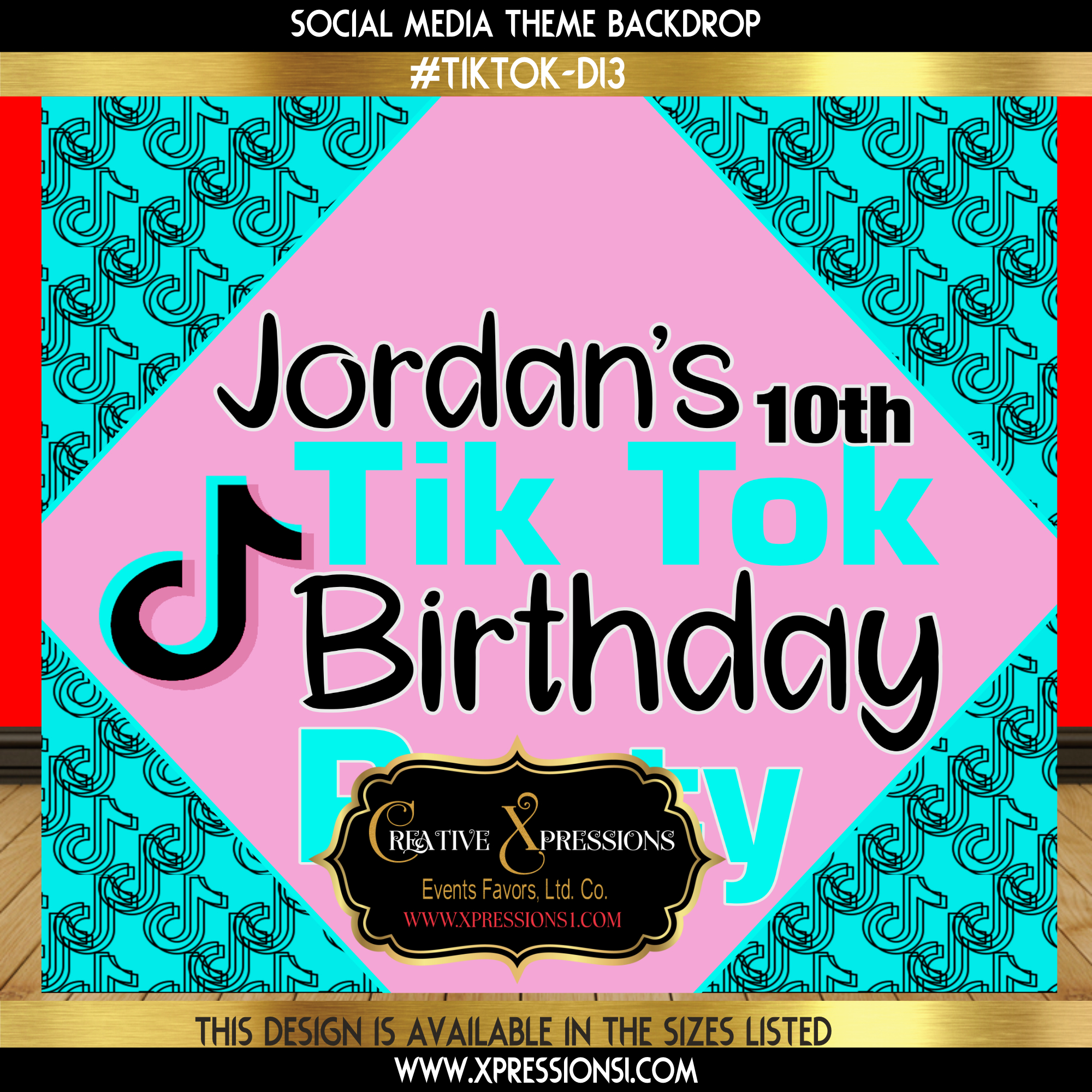 Birthday Pink Tik Tok Backdrop