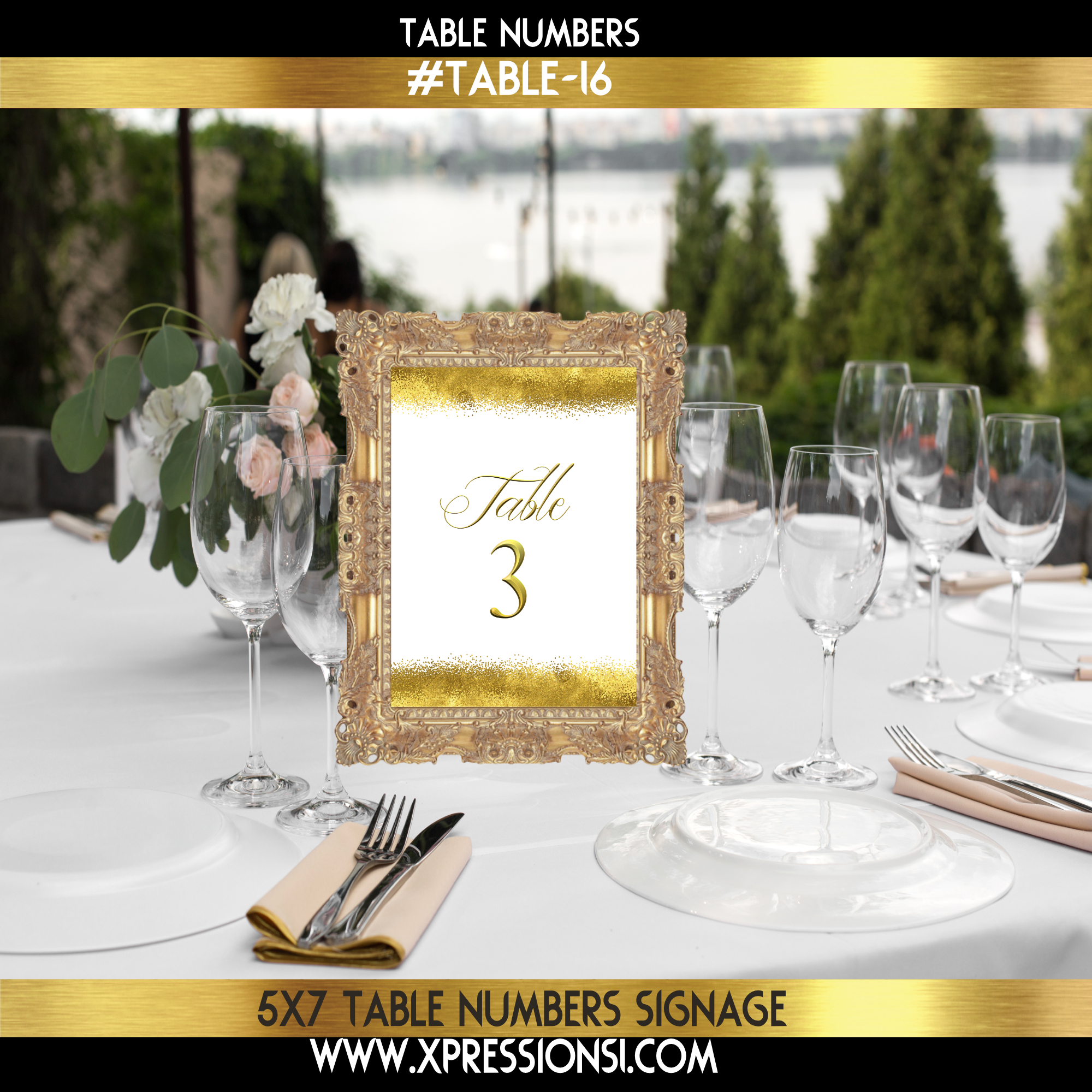 Simply Golden Table Numbers