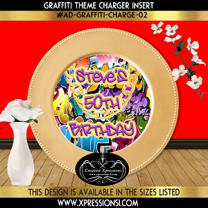 90s Theme Birthday Charger Insert