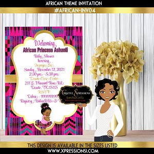 African Theme Princess Invitation