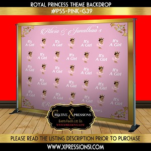 Pink and Gold Florals Princess Backdrop