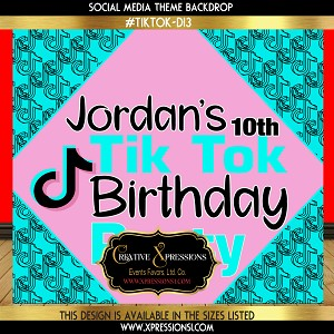 Tik Tok Birthday Backdrop